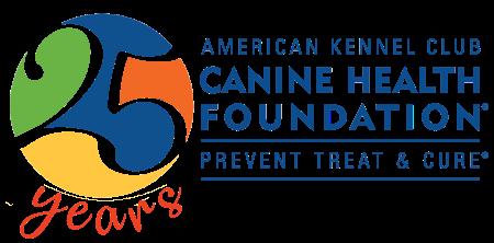 AKC Canine Health Foundation's 25th Anniversary logo